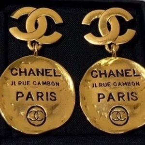 PREOWNED CHANEL CC HAMMERED CIRCLE DANGLE EARRINGS
